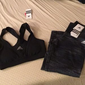 NWT ADIDAS WORKOUT SPORTS BRA & Capris